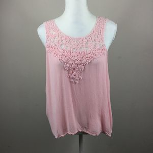 Ambiance Pink Lace Tank Top